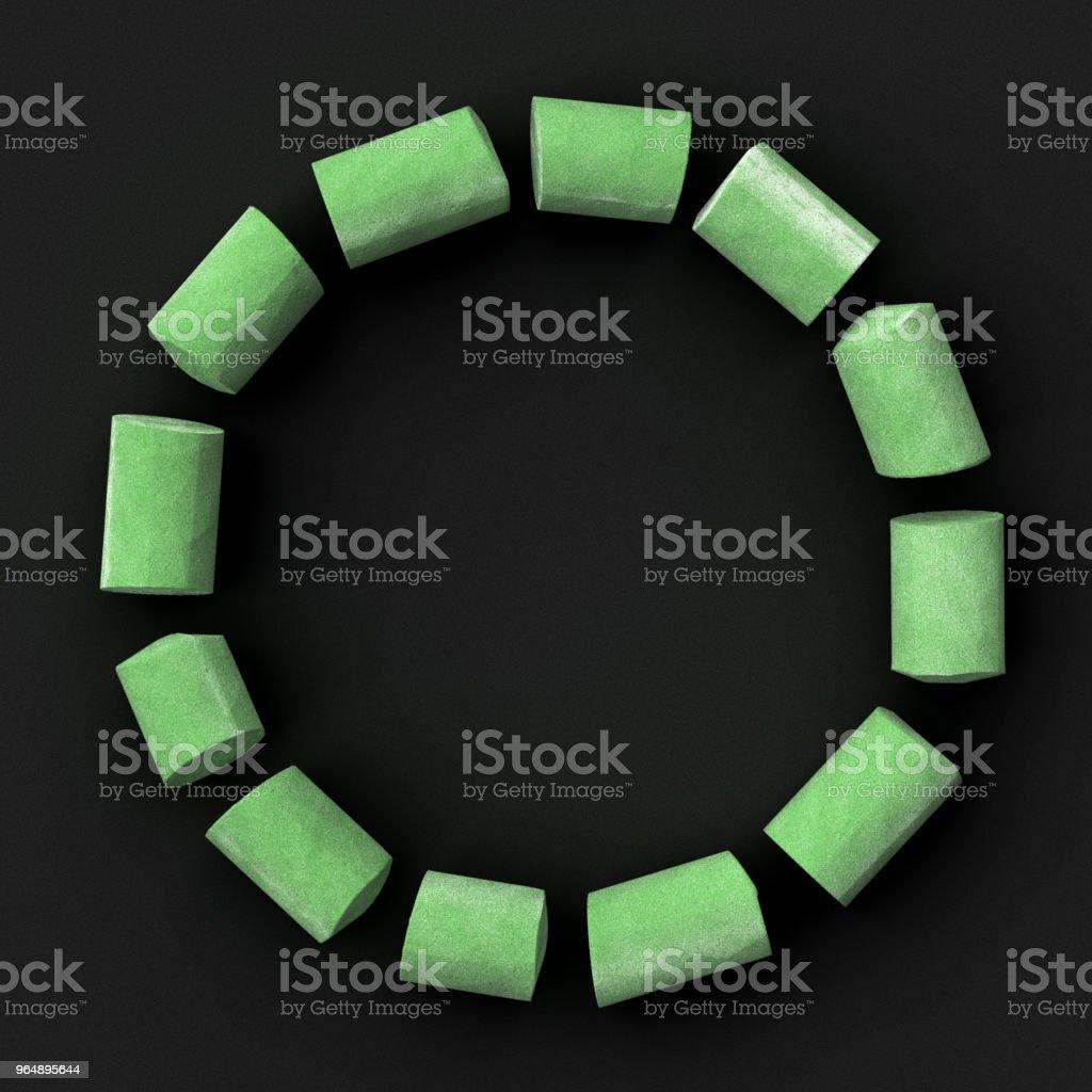 Green sidewalk or blackboard chalks assembled like font set symbol of circle shape on rough blackboard, 3D rendered font image royalty-free stock photo
