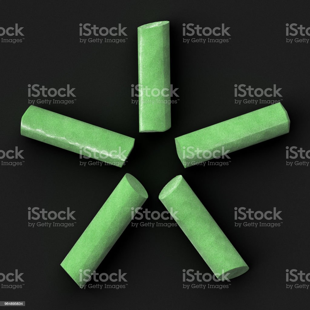 Green sidewalk or blackboard chalks assembled like font set symbol of star on rough blackboard, 3D rendered font image royalty-free stock photo