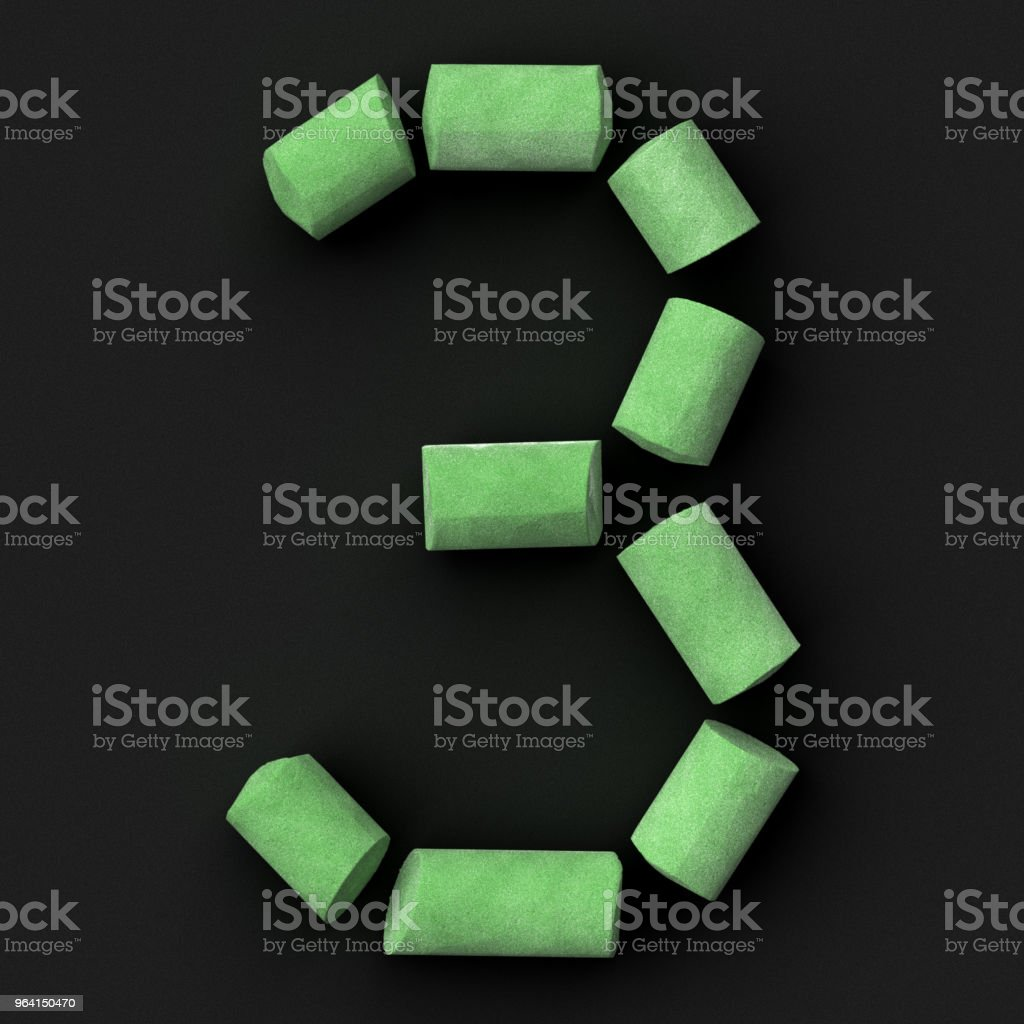 Green sidewalk or blackboard chalks assembled like mathematical digit 3 on rough blackboard, 3D rendered font image stock photo