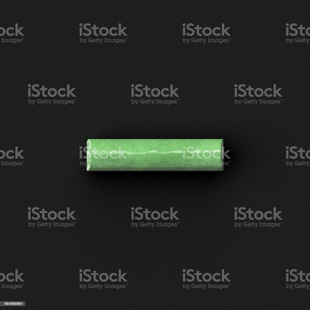 Green sidewalk or blackboard chalks assembled like mathematical minus symbol on rough blackboard, 3D rendered font image royalty-free stock photo