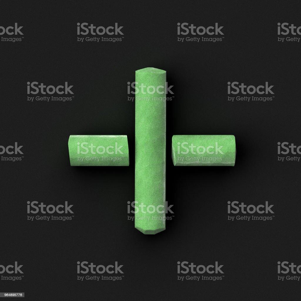 綠色人行道或黑板粉筆組裝像數學操作的加法符號在粗糙的黑板上, 3D 渲染字體圖像 - 免版稅加號圖庫照片