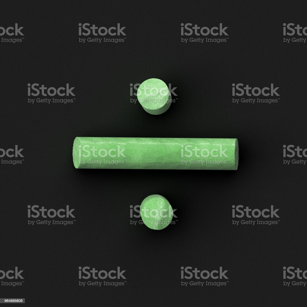 Green sidewalk or blackboard chalks assembled like mathematical operation division or obelus symbol on rough blackboard, 3D rendered font image royalty-free stock photo