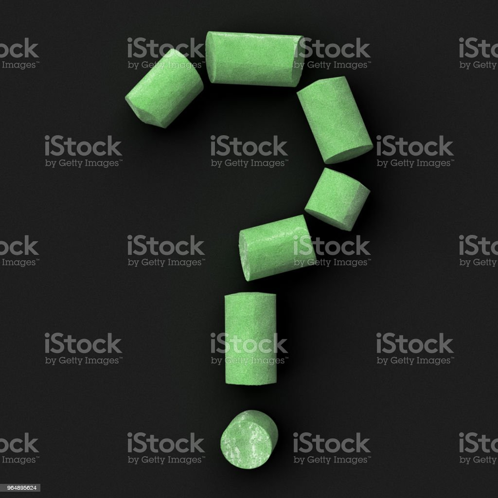 Green sidewalk or blackboard chalks assembled like pointing or punctuation  quotation mark on rough blackboard, 3D rendered font image royalty-free stock photo