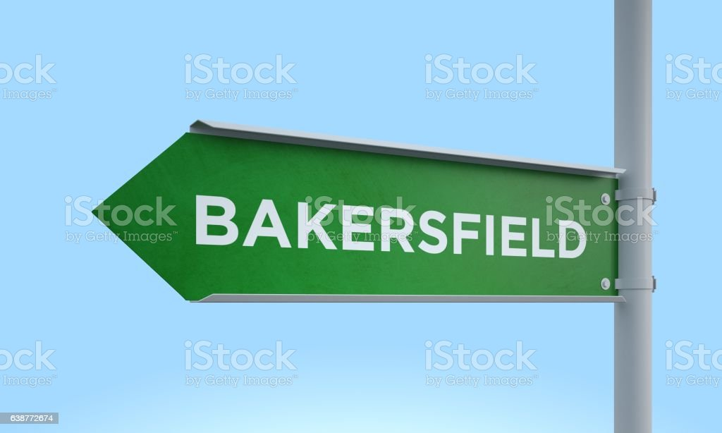 Green signpost bakersfield stock photo