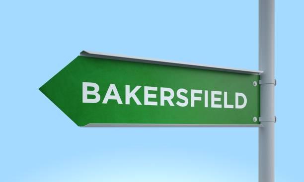 Green signpost bakersfield stock photo