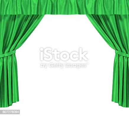 istock Green silk curtains with garter isolated on white background. 3d 607278094