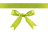istock Green silk ribbon and bow isolated on white background 1079760704