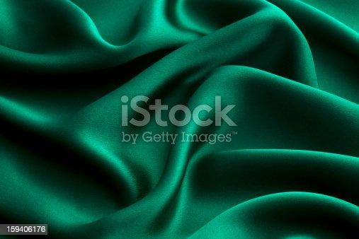 Green silk textile background
