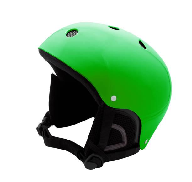 Green ski helmet isolated on white - foto stock