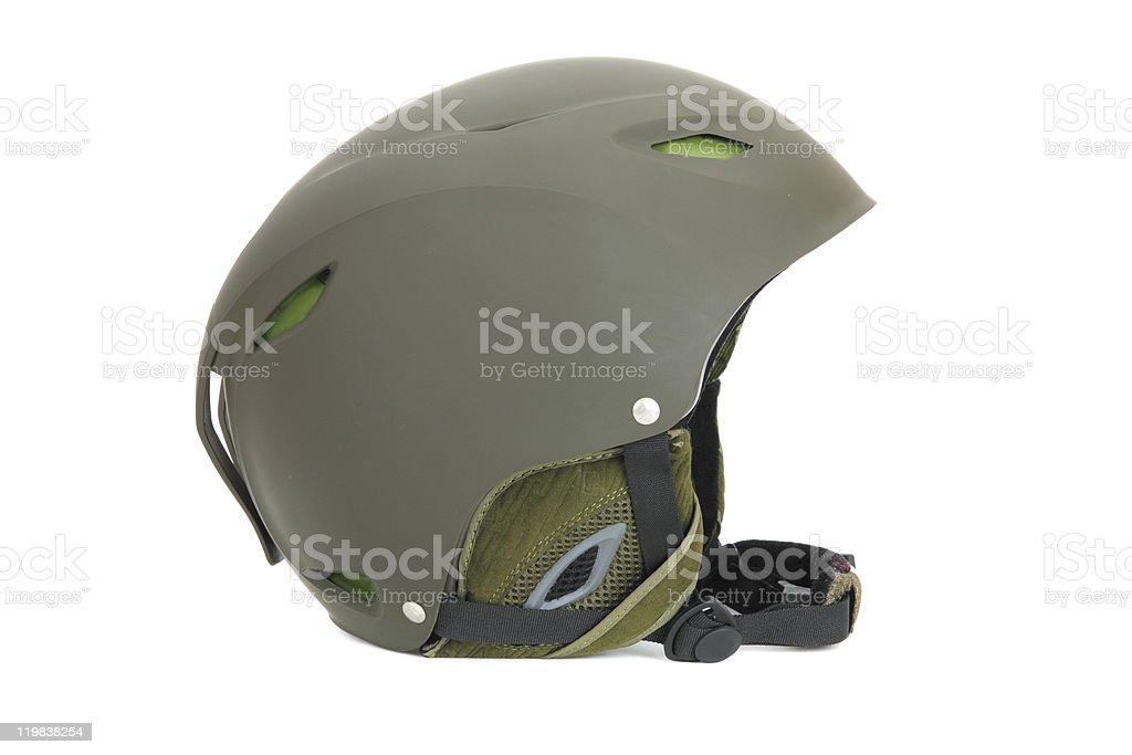 Green ski helmet stock photo