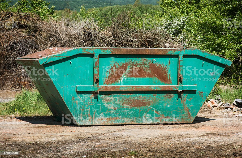 Green skip or dumpster stock photo