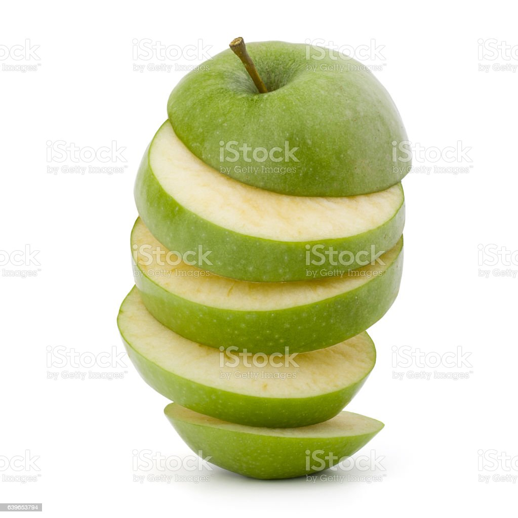 Green sliced apple isolated on white background cutout stock photo