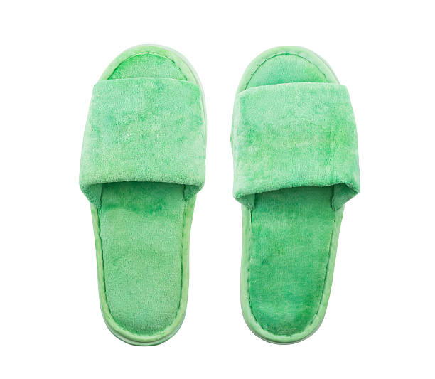 Green slippers stock photo