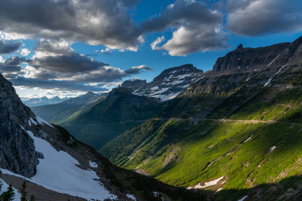 green slopes of mountains along logan pass - going to the sun road stock pictures, royalty-free photos & images