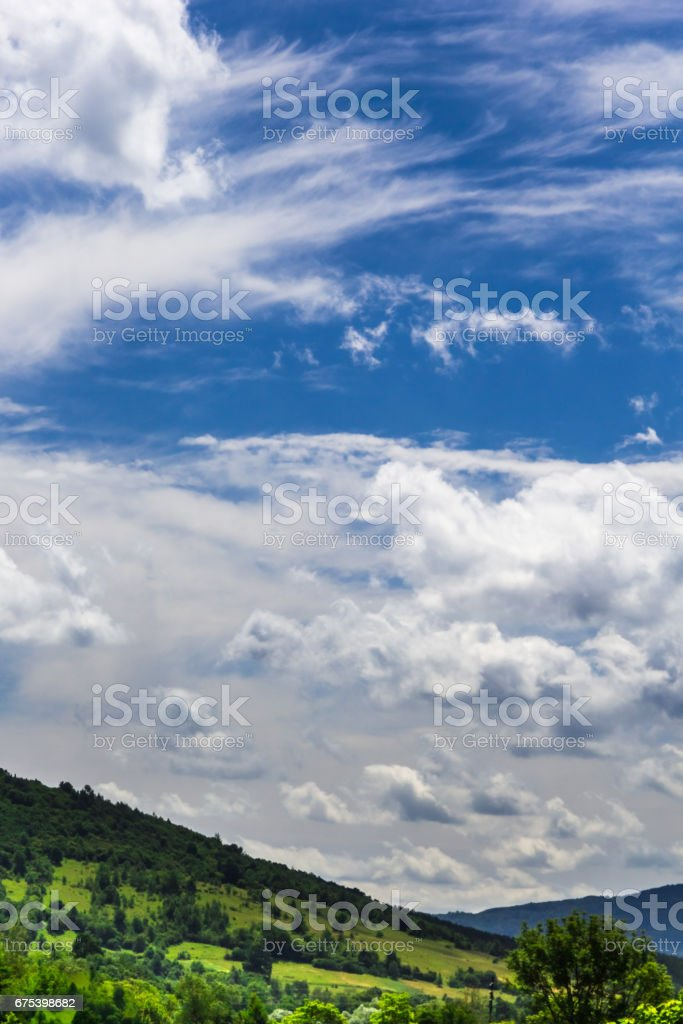 Green slopes of the Carpathians and the blue sky, Ukraine. royalty-free stock photo