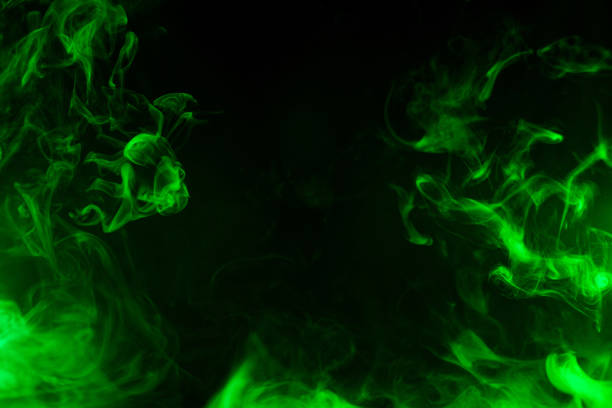green smoke texture green smoke isolated on black background evaporation stock pictures, royalty-free photos & images