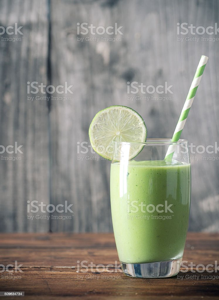 Green smoothie as healthy drink stock photo
