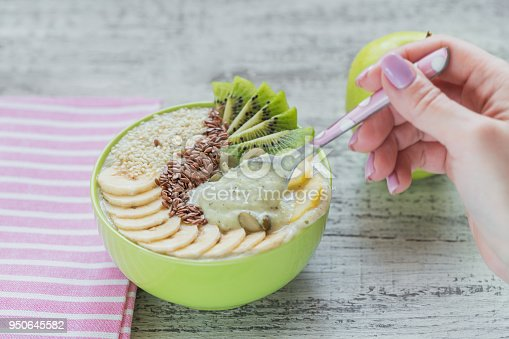 857575080istockphoto Green smoothie bowl topped with kiwi, banana, apples and seeds for healthy vegan vegetarian diet breakfast 950645582