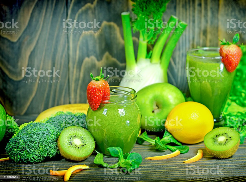 Green smoothie - healthy drink (beverage) stock photo