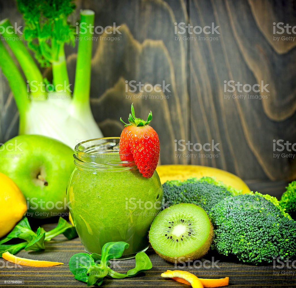 Green smoothie in jar stock photo