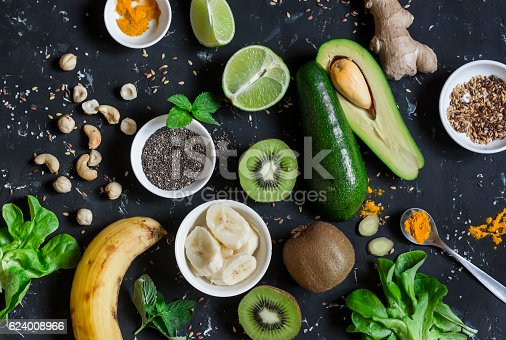 istock Green smoothie ingredients. Cooking healthy detox smoothies. 624008966