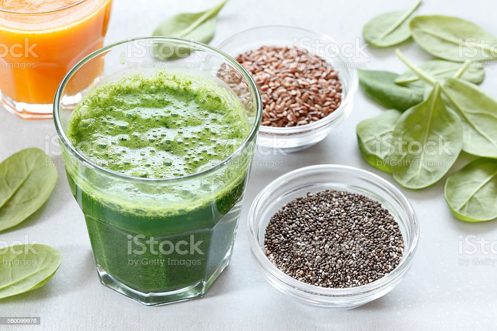 Green Smoothie With Seeds stock photo