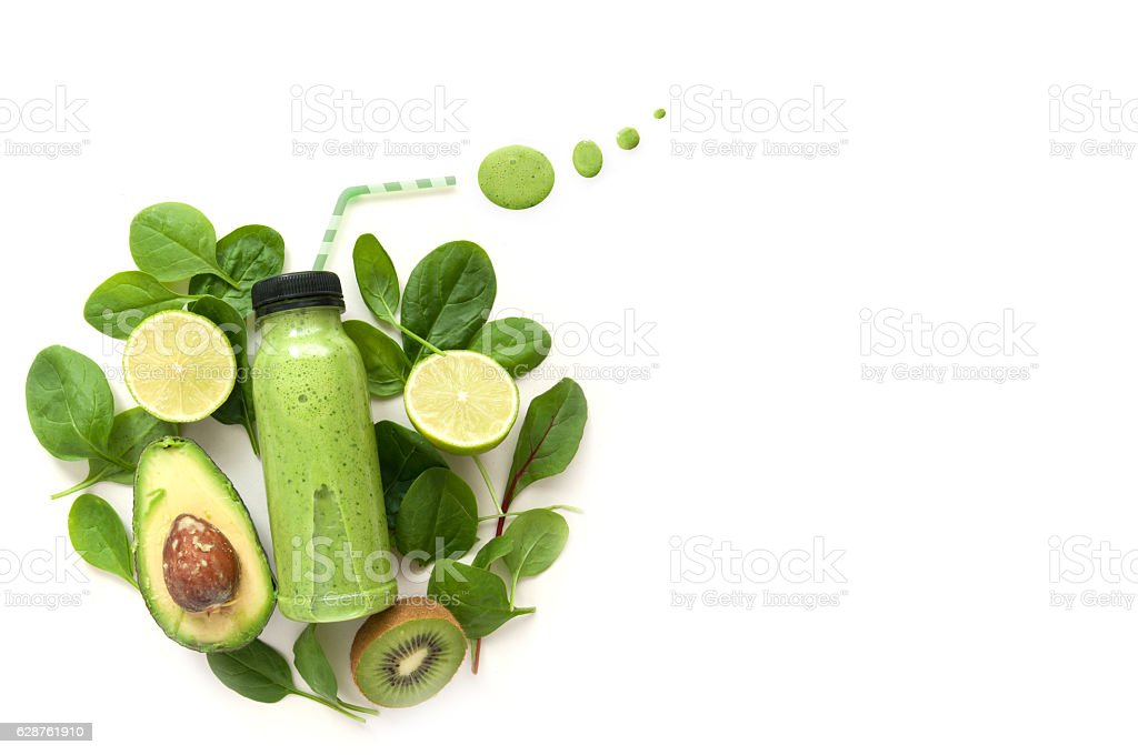 Green smoothie with space stock photo