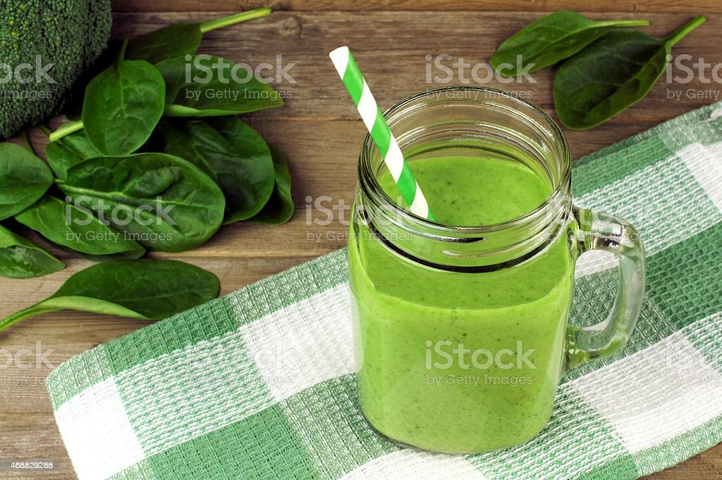 Green smoothie with spinach stock photo