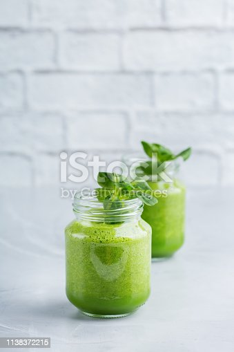 istock Green smoothie with vegetables for healthy, raw, vegan diet 1138372215