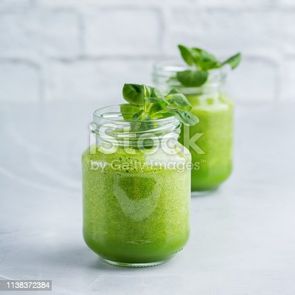 istock Green smoothie with vegetables for healthy, raw, vegan diet 1138372384
