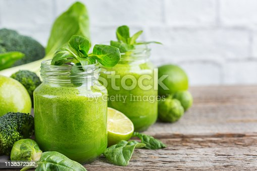 istock Green smoothie with vegetables for healthy, raw, vegan diet 1138372392