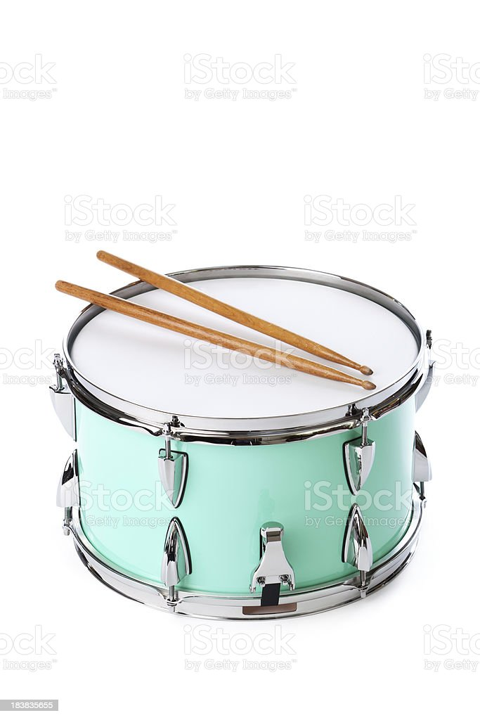 Green Snare Drum with Drumsticks, Instrument Isolated on White Background stock photo