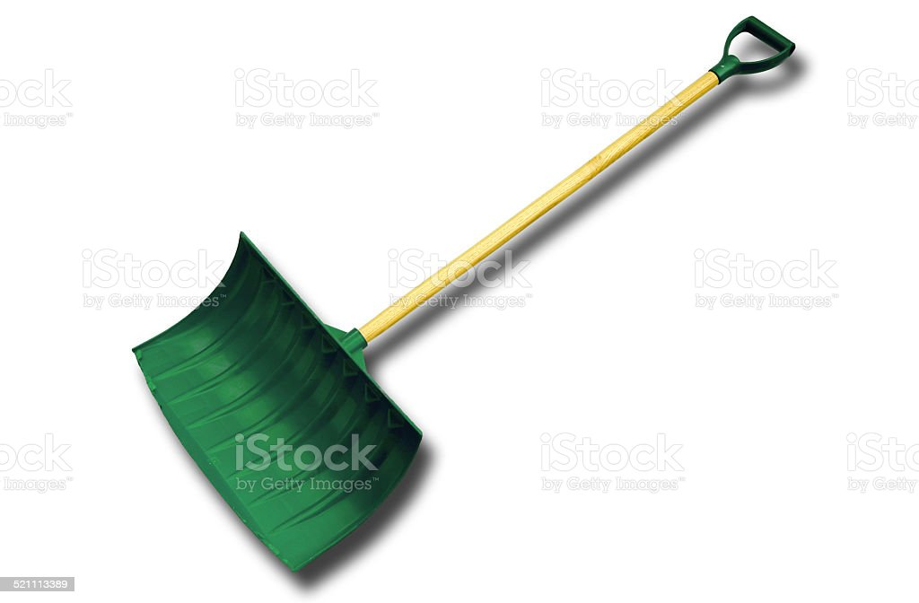 Green Snow Shovel with Shadow stock photo