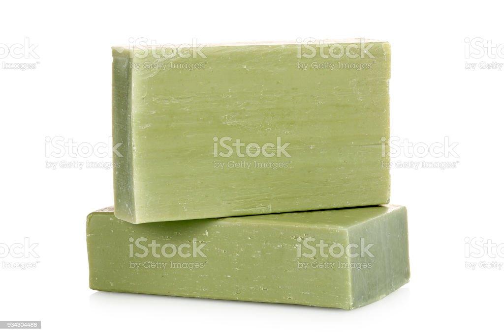 green soap bars stock photo