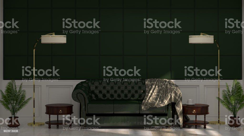 Grunes Sofa Und Lampe Vor Grunen Wand Mit Lampe Und Sideboard Im