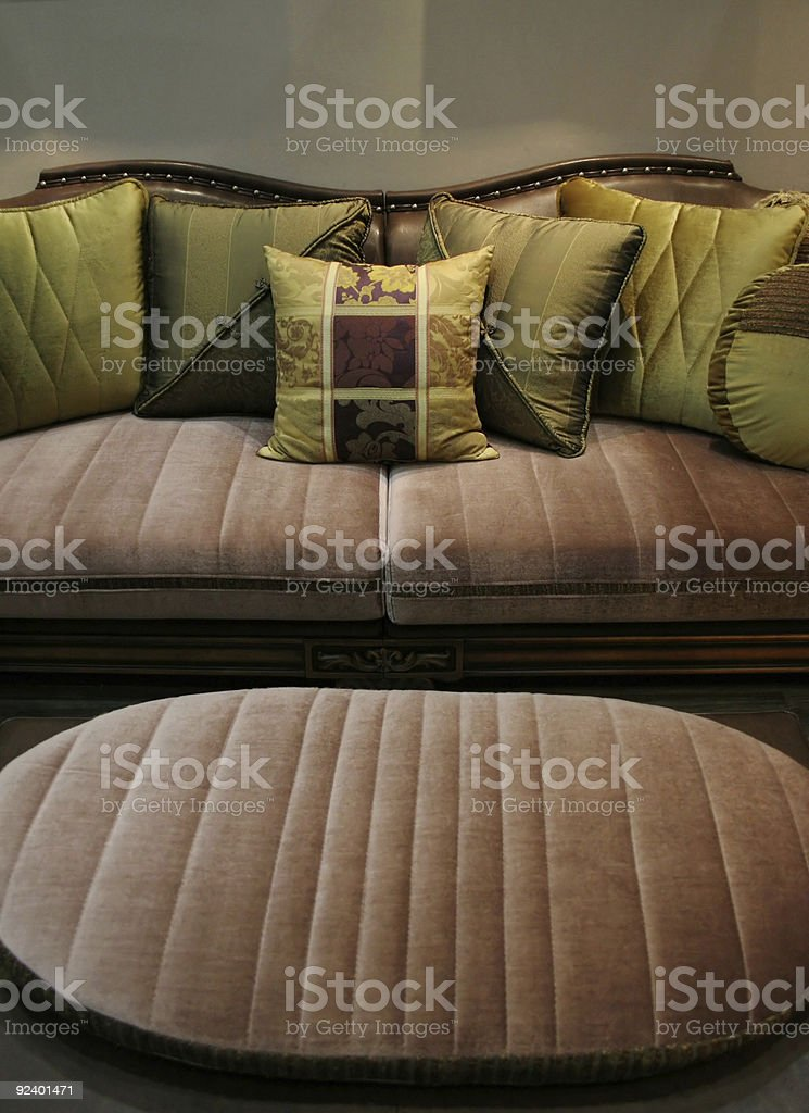 Green sofa and matching chair - home interiors royalty-free stock photo