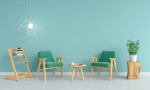 grünes sofa im wohnzimmer für mockup, 3d rendering - hellblaues zimmer stock-fotos und bilder