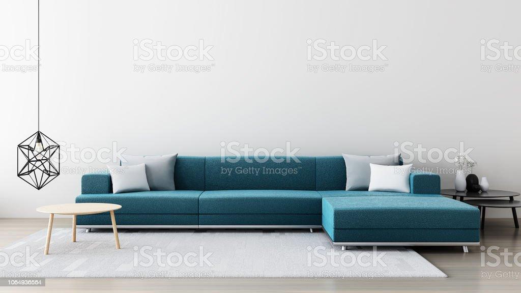Green sofa in white room - modern living room / 3D render interior