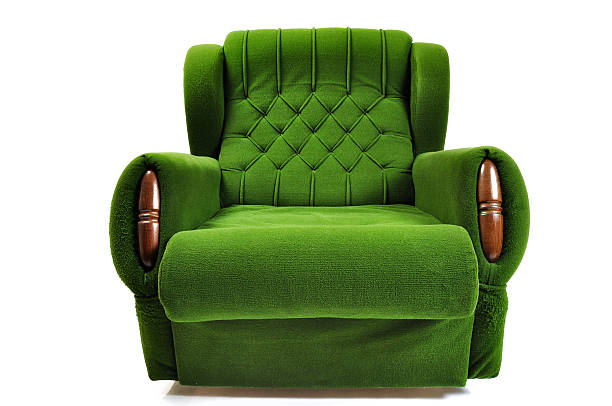 Green Sofa isolated on white Green Sofa isolated on white chaise longue stock pictures, royalty-free photos & images