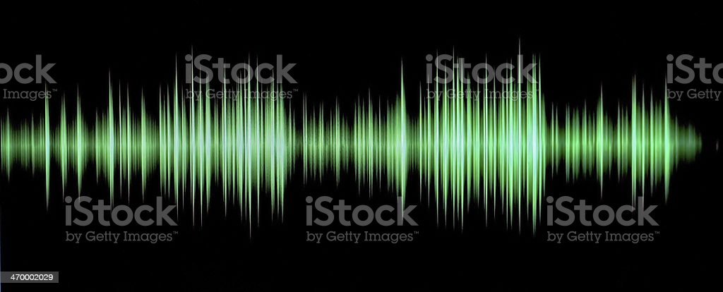 Green sound wave representation on black background stock photo