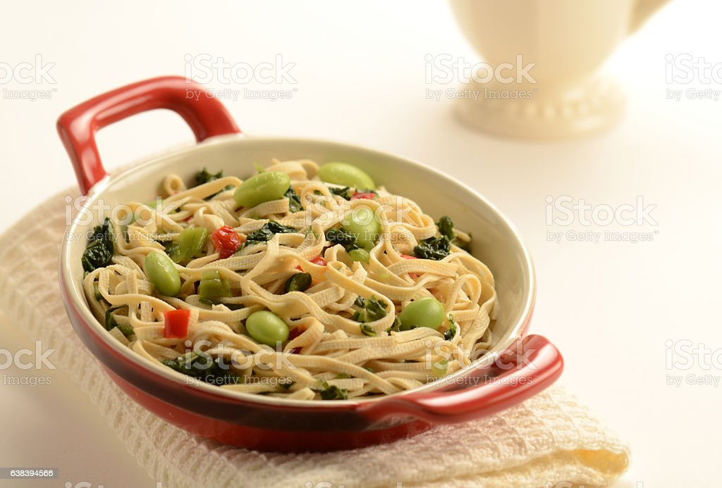 Green Soy Beans and Bean Curd in Rice Wine Sauce stock photo