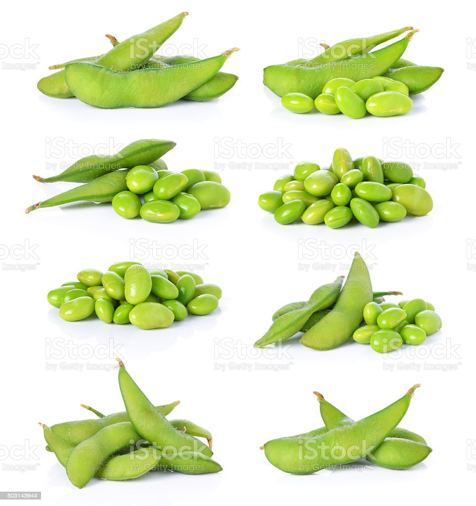 Green soybeans on white background stock photo