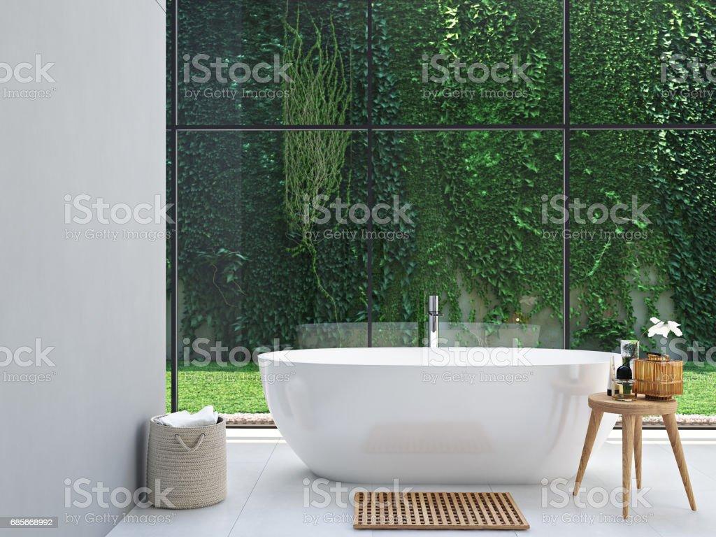green spa bathroom. 3d rendering stock photo