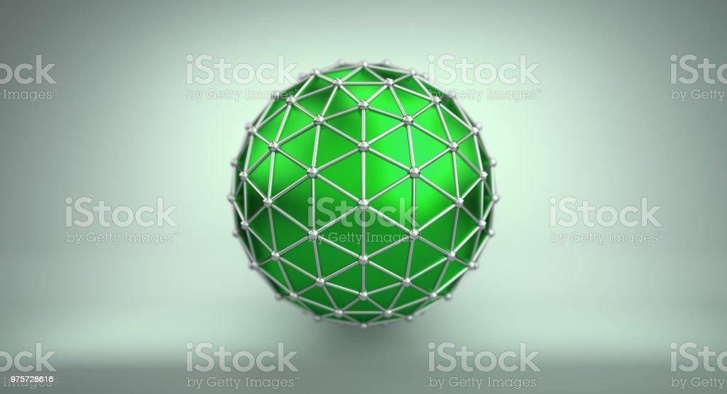 Grüne Kugel und polygonale Wireframe 3D illustration - Lizenzfrei Abstrakt Stock-Foto