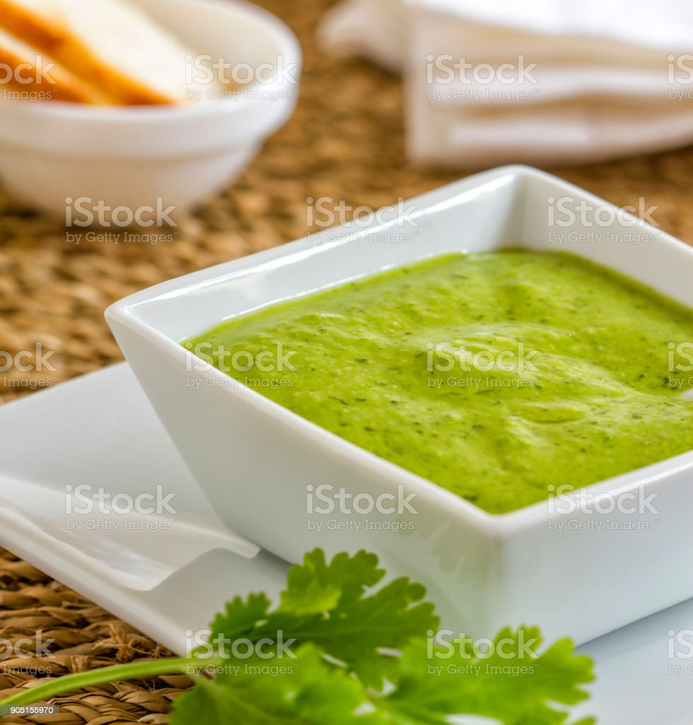 Green spicy sauce called mojo verde stock photo