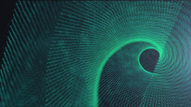 Fondo digital Green Spin futurista, antecedentes de ciencia y tecnología - foto de stock