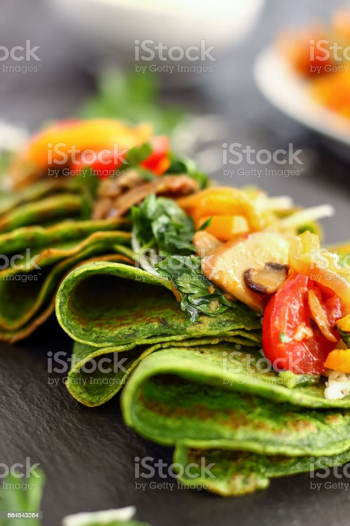 Green Spinach Crepes stock photo