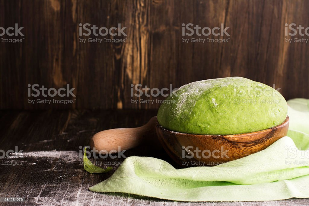 Green spinach dough and ingredients stock photo