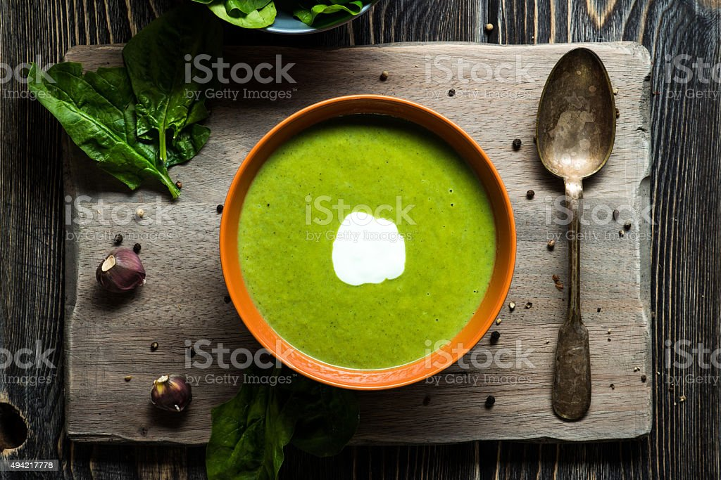 Green spinach soup stock photo