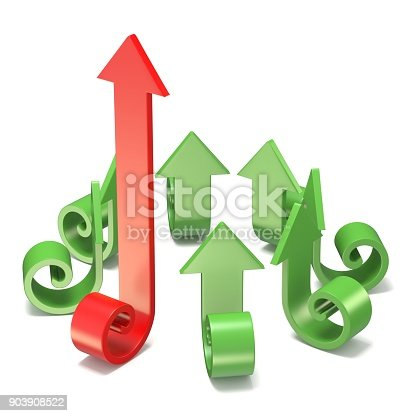 istock Green spiral arrows directed of the center with one red arrow faster than others 3D 903908522